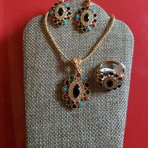 Multicolor Rhinestone Necklace Earrings,Ring set